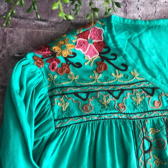 anu Tops - Anu embroidered tunic blouse teal embroidery